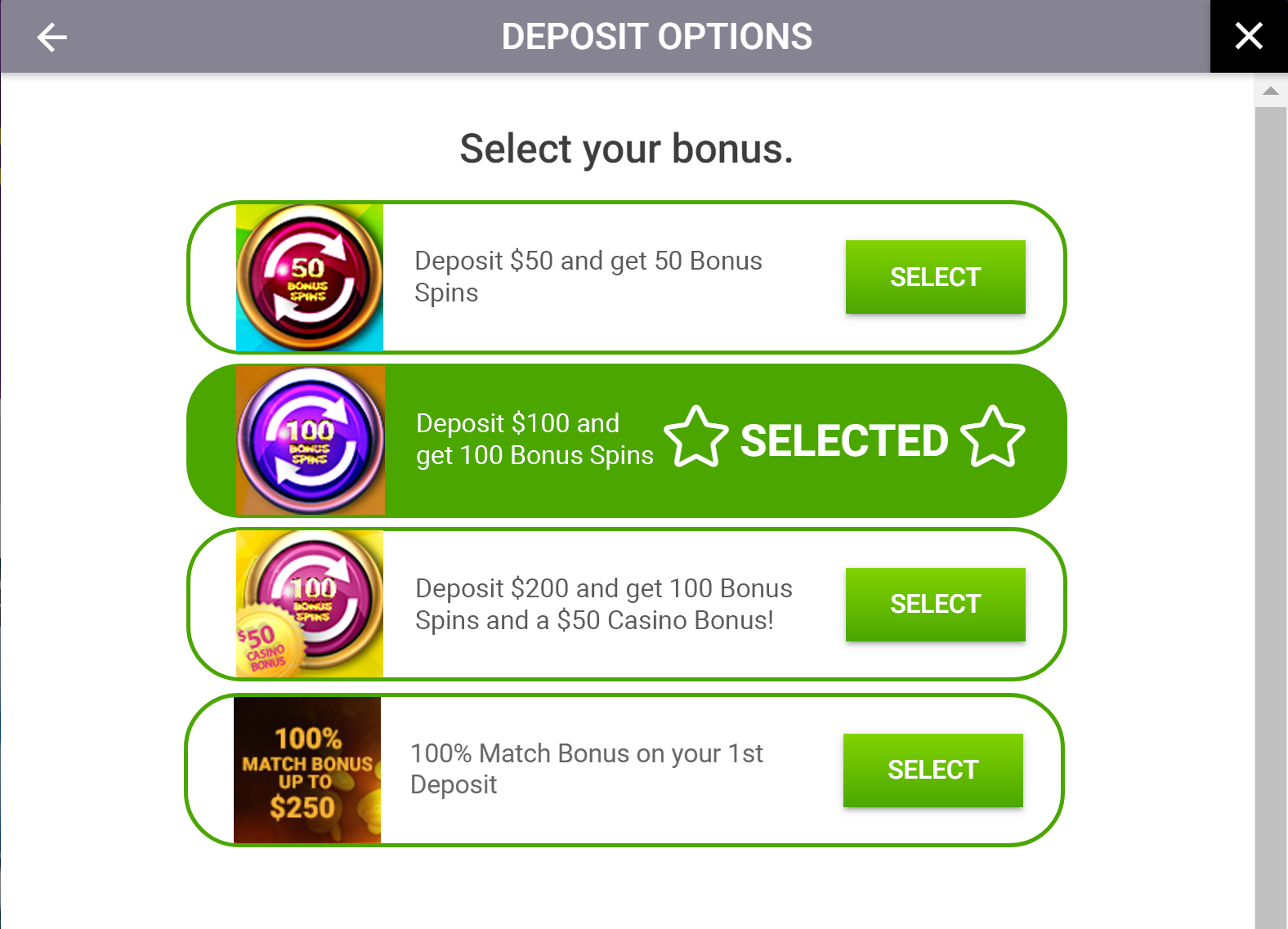 Deposit Options Window